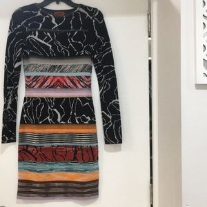 NWT Missoni stripe multi colored long sleeve dress